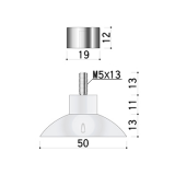吸盤化粧ナット(4個)部品:詳細寸法