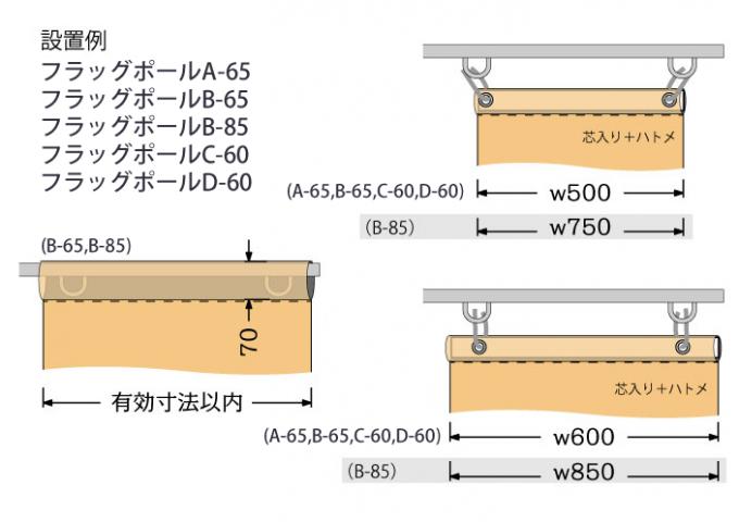 A-65、B-65、B-85、C-60、D-60の取り付け寸法例です。