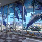 トヨペット青森西店様 透明ペット3レイヤー 電飾サインのようにイルカの躍動感が表現されています。