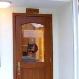 カッティングサンプル:理容院ドア、すりガラスステッカー文字