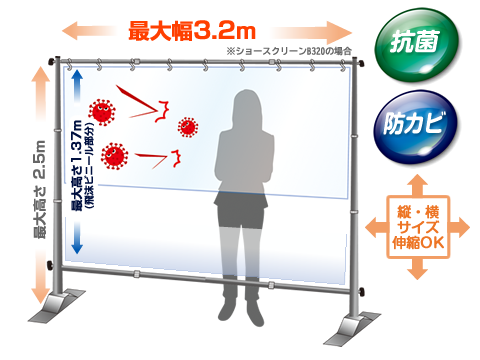 飛沫防止ビニールカーテン抗菌、防カビ