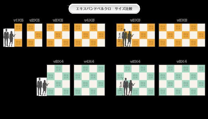 エキスパンドベルクロ Vタイプ-サイズ比較